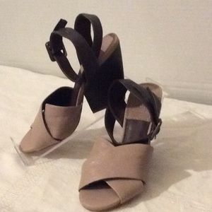 Bacio 61 brown and beige cross straps sandals # 7M